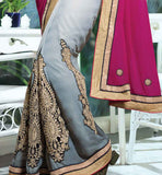 designer sari with embroidery work