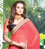 DUSTY PINK & BEIGE GEORGETTE HEAVY EMBROIDERY PARTY WEAR SAREE