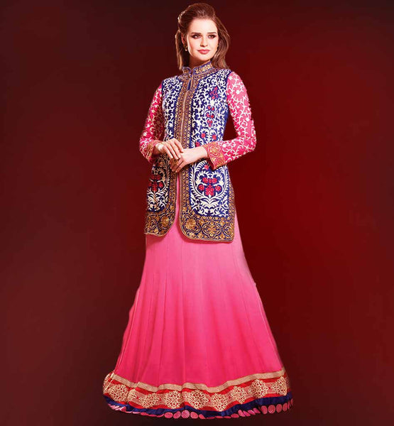 wedding lengha choli with long jacket kotti koti