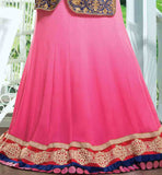 PINK VELVET & WEIGHTLESS LEHENGA WITH HEAVY EMBROIDERY BLUE KOTTI