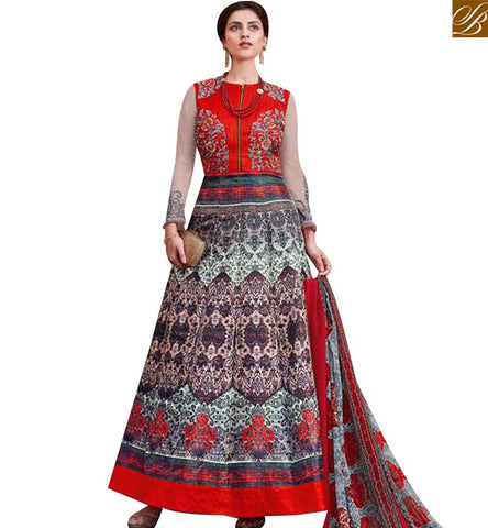 STYLISH BAZAAR BEAUTIFUL MULTICOLOUR TAFFETA SILK DESIGNER PRINTED ANARKALI SALWAR KAMEEZ SLAR13011