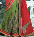 RED & GREEN  JUTE DESIGNER HEAVY EMBROIDERY SAREE & BROCADE BLOUSE