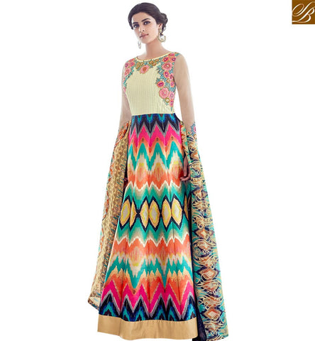 STYLISH BAZAAR AMAZING MULTICOLOUR TAFFETA SILK PRINTED PARTY WEAR ANARKALI SALWAR SUIT SLAR13012