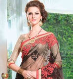 BLACK NET DESIGNER SAREE WITH HEAVY EMBROIDERY & BROCADE BLOUSE | GLAMOROUS HEAVY EMBROIDERED BROCADE DESIGNER BLOUSE DESIGN FOR  NET SAREE