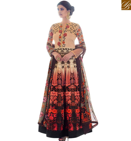 STYLISH BAZAAR EYE CATCHING MULTICOLOUR SILK HAVING FLOWER PRINT PARTY WEAR SALWAR SUIT SLAR13013