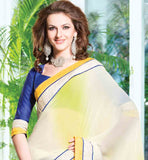 OFF WHITE & YELLOW SHADED CHIFFON & COTTON DESIGNER SAREE