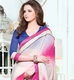 OFF WHITE & SHADED PINK CHIFFON & COTTON HEAVY EMBROIDERY SAREE