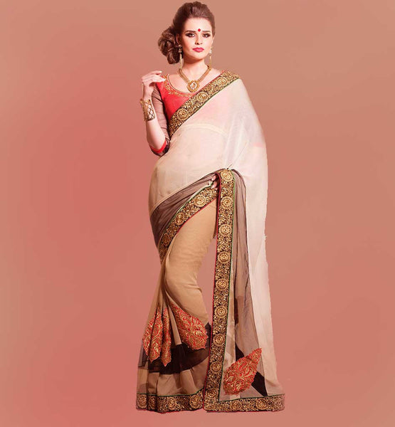 SHADED CHIFFON PARTY WEAR SAREE DESIGNS WITH EMBROIDERED BLOUSE
