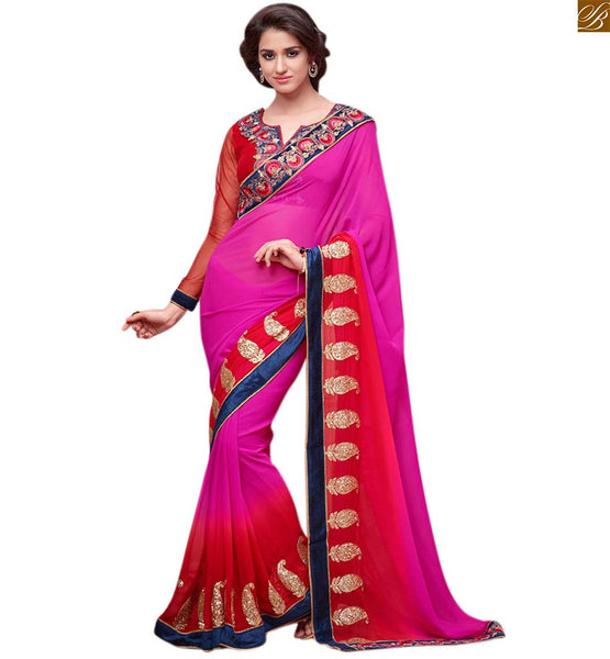 Shaded pink and red designer saree with designer blouse red and pink georgette based heavy embroidered saree with designer border line. The blouse is red colored and made of art-silk fabric Image