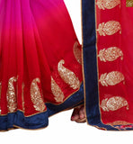 Red and pink georgette based heavy embroidered saree with designer border line. The blouse is red colored and made of Art-Silk fabric. Long sleeves come with border work. Also butta work is provided on lower part Image