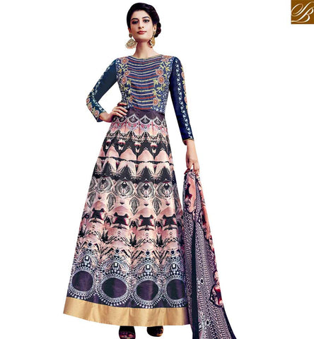 STYLISH BAZAAR GOOD LOOKING TAFFETA SILK HAVING WELL COMBINATION OF MULTICOLOUR DESIGNER SUIT SLAR13015
