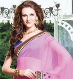 PLEASING PINK PARTY WEAR SAREE WITH BUTTA WORK & DUPION BLOUSE