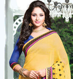 EXCITING YELLOW RAJJO NET PARTY WEAR SAREE WITH DUPION BLOUSE