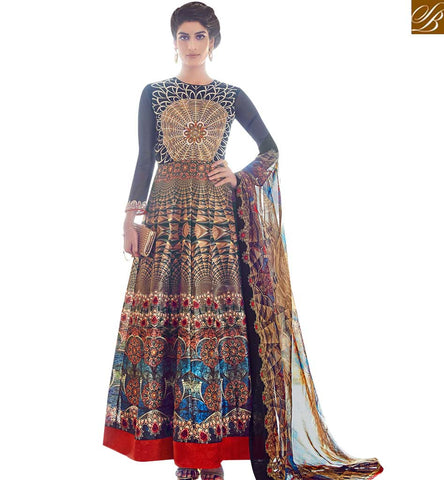 STYLISH BAZAAR APPEALING MULTICOLOUR DIGITAL PRINT TAFFETA SILK DESIGNER PARTY WEAR ANARKALI DRESS SLAR13016