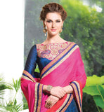 LOVELY BLUE AND PINK WEDDING WEAR LENGHA SAREE