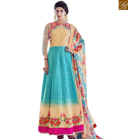 STYLISH BAZAAR ELEGANT CREAM AND SEA BLUE SILK DESIGNER ANARKALI SLAWAR KAMEEZ WITH PRINTED DUPATTA SLAR13017