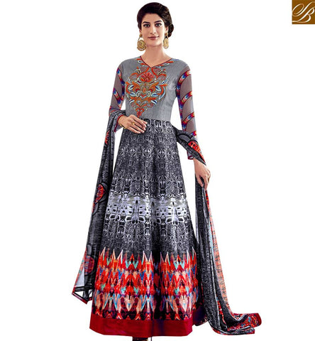 STYLISH BAZAAR STUNNING MULTICOLOUR SILK PARTY WEAR DIGITAL PRINT ANARKALI SALWAR SUIT SLAR13018