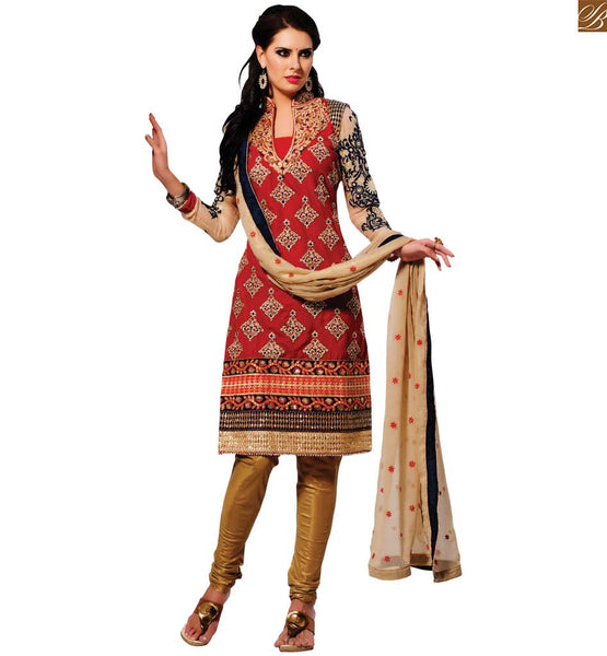 STYLISH BAZAAR ENTHRALLING DESIGNER RED SHORT SALWAR KAMEEZ RTMSR1302