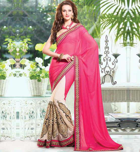 RAJWADI DOUBLE COLOR 2015 STYLE EMBROIDERED SAREE BLOUSE DESIGNS