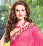 PARTY WEAR CREAM & PINK GEORGETTE & NET HEAVY EMBROIDERY SAREE