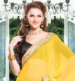 FABULOUS DESIGNER CHIFFON HEAVY EMBROIDERY SAREE WITH DHUPION BLOUSE