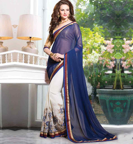 LATEST FLORAL DESIGN CHIFFON PARTY WEAR SAREE WITH BROCADE CHOLI