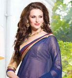 LOVELY OFF WHITE & BLUE CHIFFON PARTY WEAR HEAVY EMBROIDERY SAREE