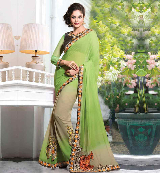PREMIERE CHIFFON PARTY SAREE WITH HEAVY EMBROIDERED BLOUSE DESIGNS