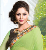 STYLISH BEIGE & LIGHT GREEN CHIFFON HEAVY EMBROIDERY PARTY WEAR SAREE