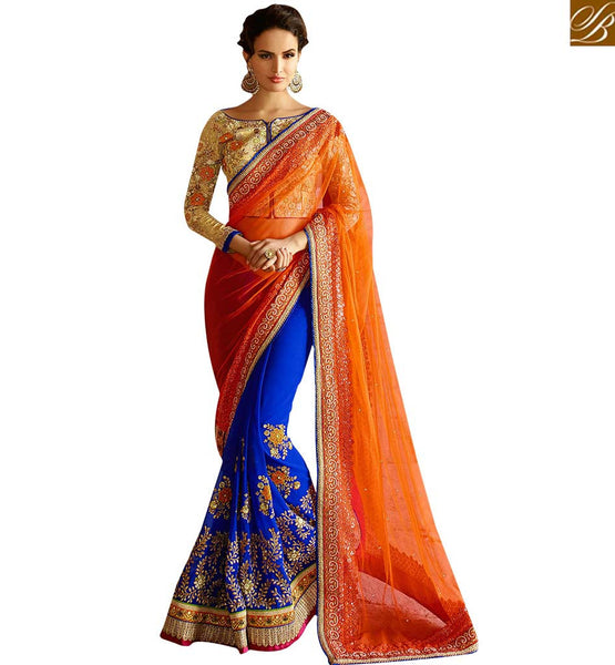 APPEALING DESIGNER SAREE ESPECIALLY FOR PARTIES RTHYB1302 BY STYLISH BAZAAR