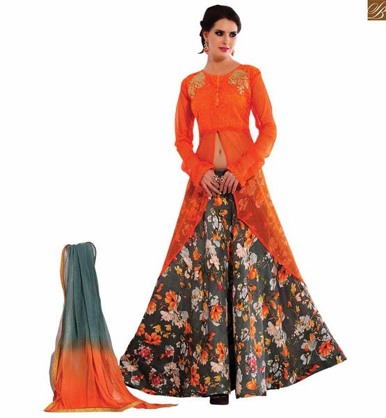 STYLISH BAZAAR MESMERIZING FLORESCENT ORANGE DESIGNER SALWAR KAMEEZ COUPLED WITH GREY FLORAL BOTTOM