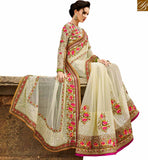 FROM STYLISH BAZAAR EXCELLENT WHITE EMBROIDERED PARTY WEAR SARI RTHYB1307