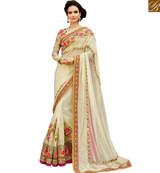 STYLISH BAZAAR EXCELLENT WHITE EMBROIDERED PARTY WEAR SARI RTHYB1307