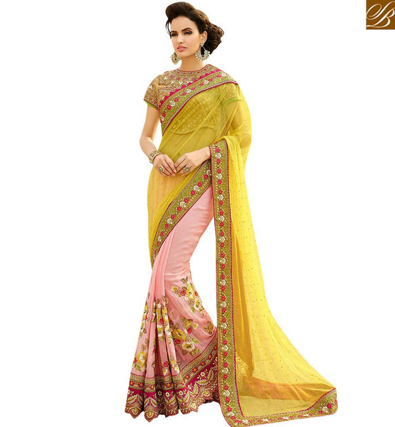 STYLISH BAZAAR FASCINATING NET AND GEORGETTE SAREE FOR PARTIES RTHYB1308