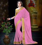LATEST PARTY WEAR SAREES ONLINE SHOPPING PINK CREPE JACQUARD SAREE WITH MUSTARD BLOUSE PIECE