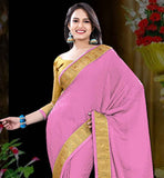 PINK CREPE JACQUARD SAREE WITH MUSTARD BLOUSE PIECE THIS SARI HAS BROAD GOLDEN LACE BORDER  AND LOVELY SELF DESIGNING PATTERN ALL OVER IT