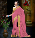 SAREES SHOPPING INDIA FREE CASH ON DELIVERY DUSTY PINK CREPE JACQUARD SAREE WITH MUSTARD BLOUSE PIECE