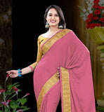 DUSTY PINK CREPE JACQUARD SAREE WITH MUSTARD BLOUSE PIECE THIS SAREE IS SUITABLE FOR PARTIES AND GATHERINGS. LOVELY LACE BORDER ON SAREE ADDS MORE GLAMOUR TO IT