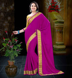 SARI SHOPPING WITH MATCHING BLOUSE PIECE DARK PINK (RANI) CREPE JACQUARD SAREE WITH MUSTARD BLOUSE PIECE