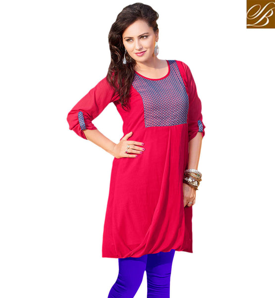 STYLISH BAZAAR GRACEFUL PINK KURTI DESIGN RTVANI130A