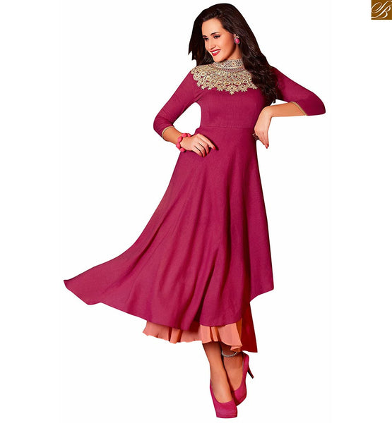 DESIGNER KURTIS WITH DIFFERENT CUTS STYLE AND HEAVY FLORAL EMBROIDERY ON NECK AND PIPING ON THREE FOURTH SLEEVES ADDING BEAUTY TO  PINK LONG DESIGNER KURTI