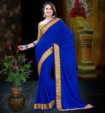 BUY LATEST FASHION SAREE BLOUSE DESIGNS INDIA BLUE CREPE JACQUARD SAREE WITH MUSTARD BLOUSE PIECE