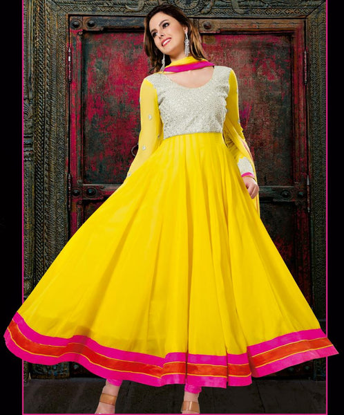 YELLOW DESIGNER ANARKALI DRESS