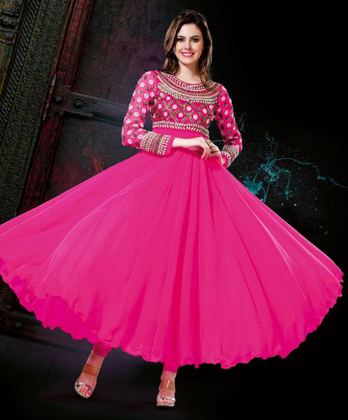 PLEASING PINK DESIGNER ANARKALI DRESS