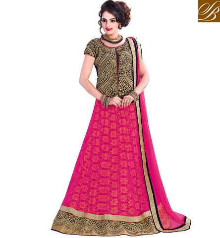 BUY EVERSTYLISH LEHENGA CHOLI ONLINE IN INDIA WEDDING COLLECTION PINK NET LENGHA WITH BLACK VELVET CHOLI, DUPATTA AND RUSSEL JACQUARD INNER