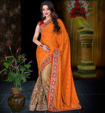 BUY WEDDING COLLECTION SAREE BLOUSE DESIGN ORANGE- BEIGE CREPE JACQUARD AND NET SAREE WITH MAROON DUPION CHOLI