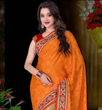 ORANGE- BEIGE CREPE JACQUARD AND NET SAREE WITH MAROON DUPION CHOLI HEAVY EMBROIDERY WORK ON THE SKIRT PORTION, WITH SELF DESIGNING