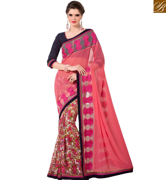 STYLISH BAZAAR DAZZLING DESIGNER PEACH COLORED GEORGETTE ART SILK SAREE RTANT131
