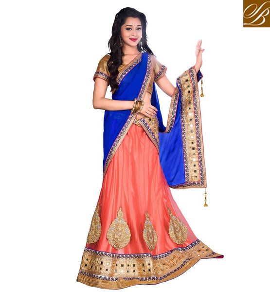 ETHNIC INDIAN STYLE WEDDING LEHENGA CHOLI DRESS ORANGE NET LENGHA WITH BROWN BROCADE BLOUSE CHIFFON DUPATTA AND SATIN  INNER
