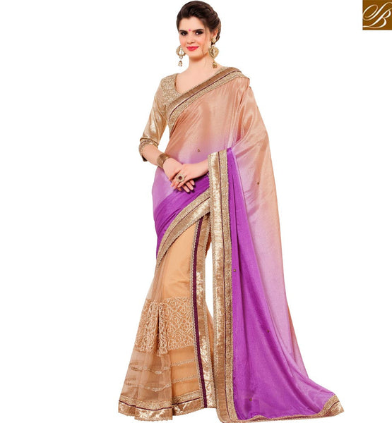 GLAMOROUS DESIGNER BEIGE & PURPLE COLORED SAREE WITH EMBROIDERY WORK RTANT132
